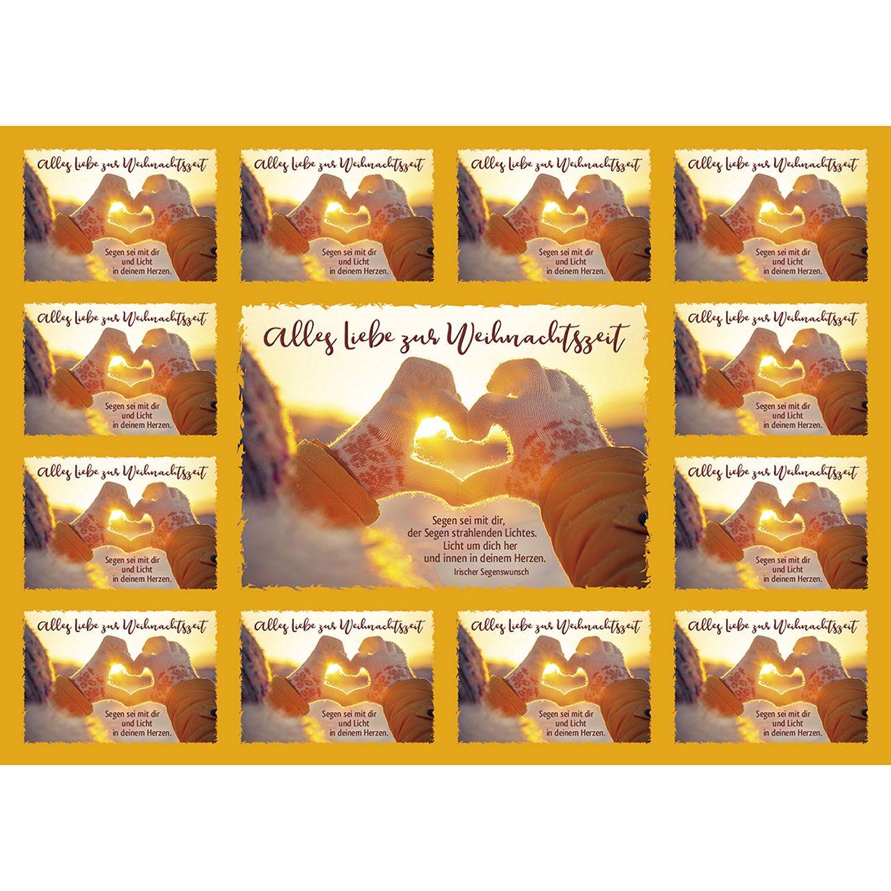 Aufkleber-Gruß-Karten: Alles Liebe zur Weihnachtszeit, 12 Stück