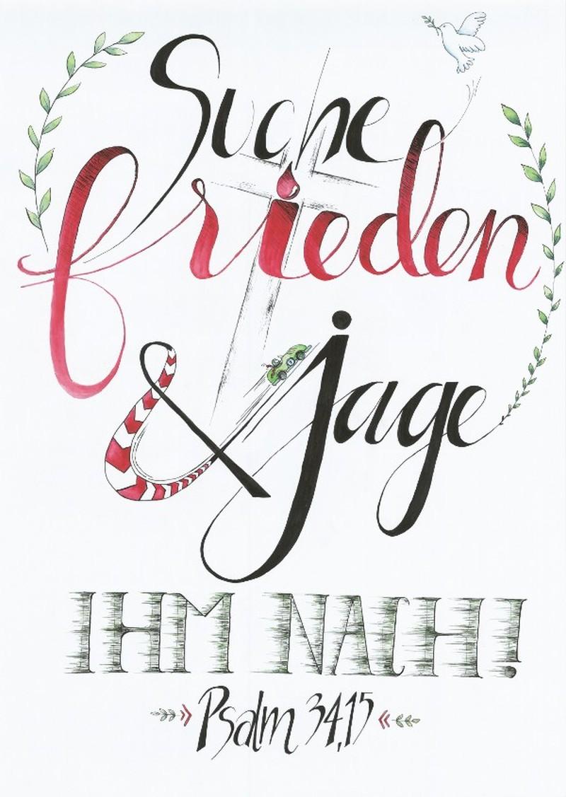 """Poster """"Suche Frieden und jage"""" - Motiv Taube A2"""