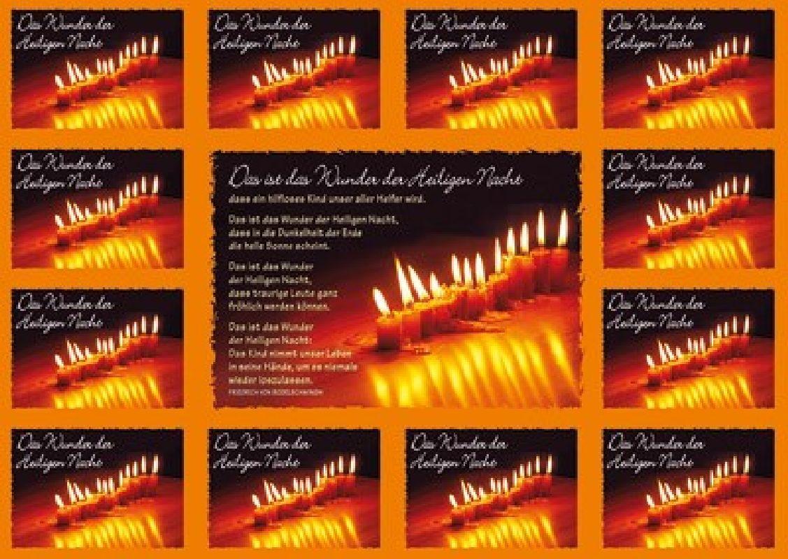 Aufkleber-Gruß-Karten: Das Wunder der heiligen Nacht - 12 Stück