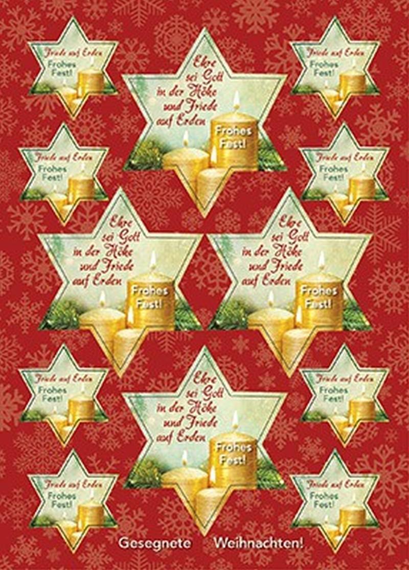 Aufkleber-Gruß-Karten: Ehre sei Gott, 12 Stück