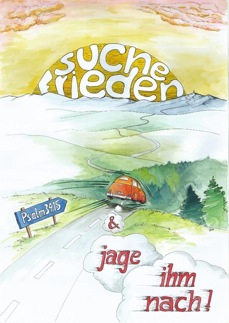 """Poster """"Suche Frieden und jage""""-  Motiv Landschaft A2"""