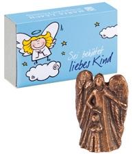"""Bronze-Engel """"Sei behütet liebes Kind"""" (für Jungen)"""