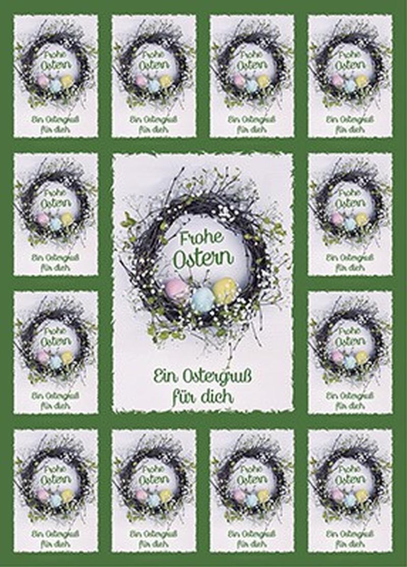 Aufkleber-Gruß-Karten: Frohe Ostern, 12 Stück