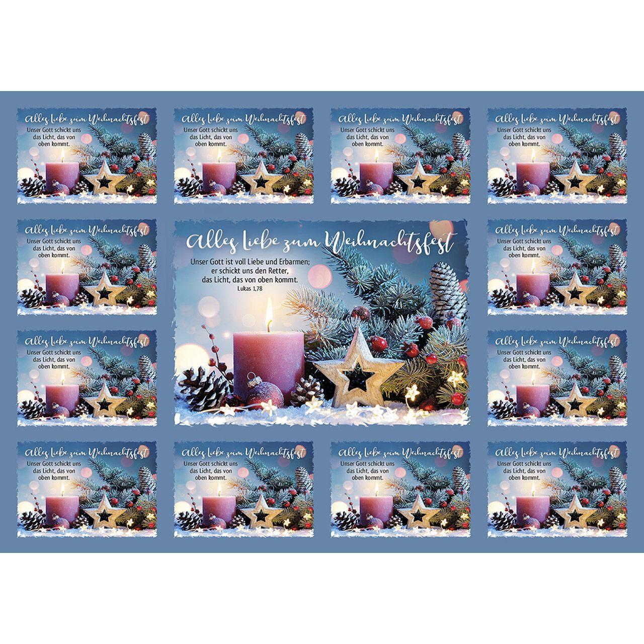 Aufkleber-Gruß-Karten: Alle Liebe zum Weihnachtsfest 12 Stück