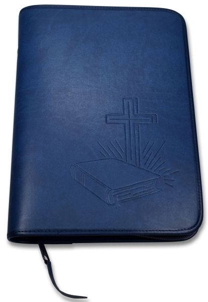 "Bibelhülle ""Bibel/Kreuz/Strahlen"" Standard - dunkelblau"