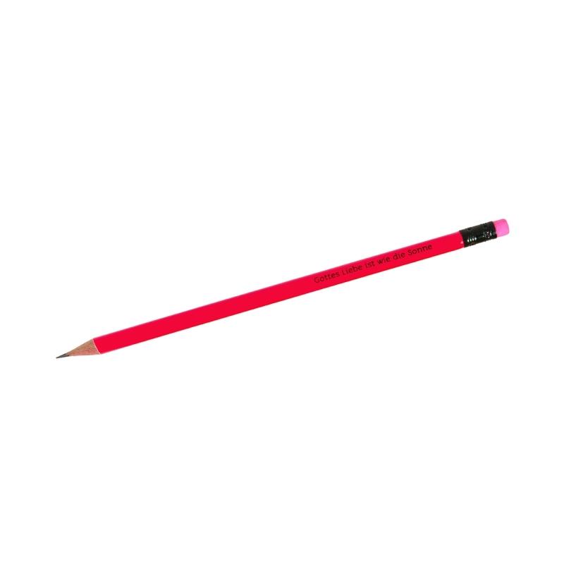 """Bleistift """"Gottes Liebe ist wie die Sonne"""" - neonpink"""