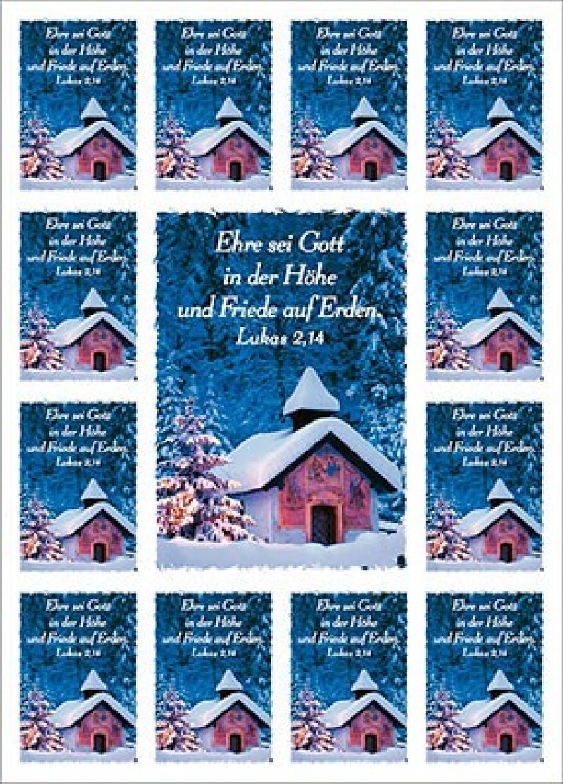 Aufkleber-Gruß-Karten: Ehre sei Gott - 4 Stück