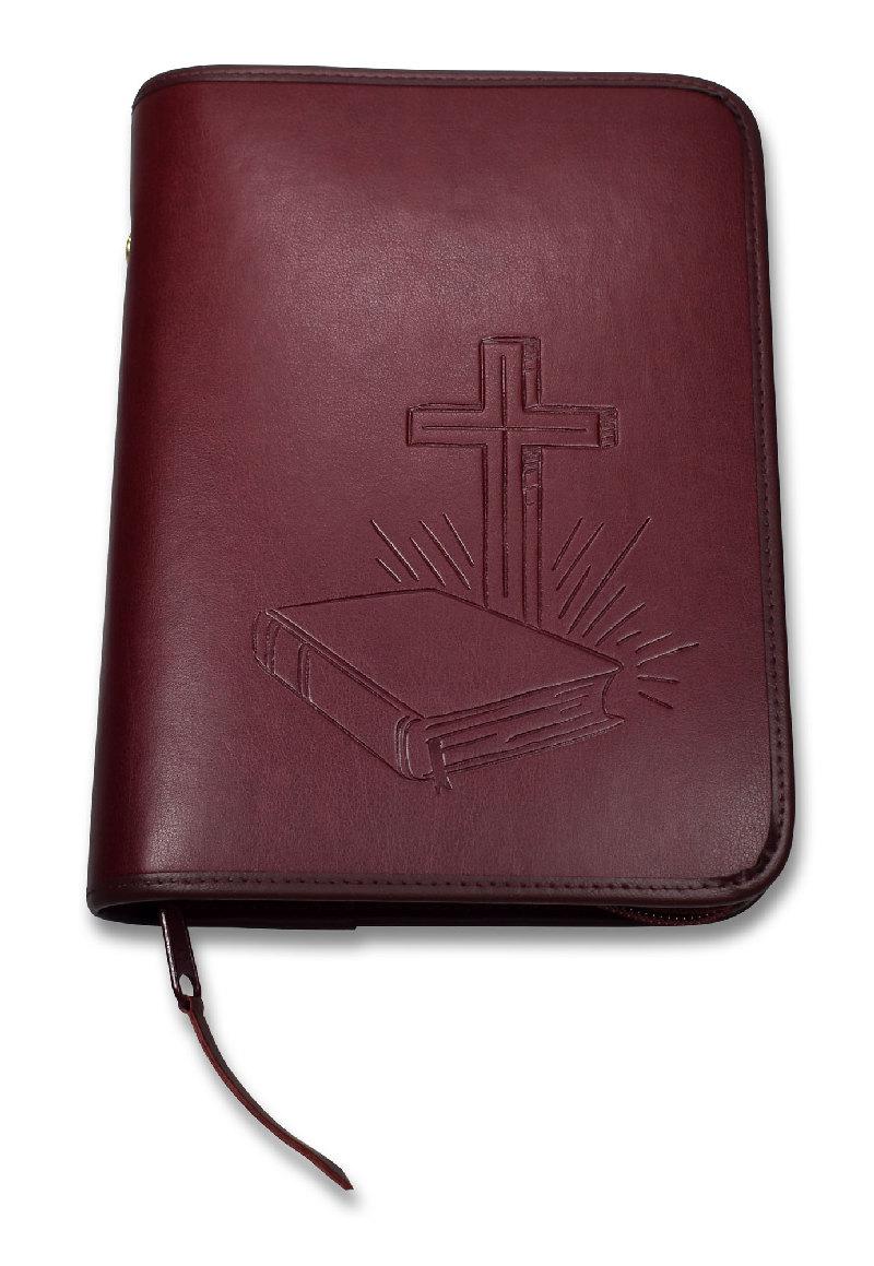 "Bibelhülle ""Bibel/Kreuz/Strahlen"" Taschenbibel - weinrot"