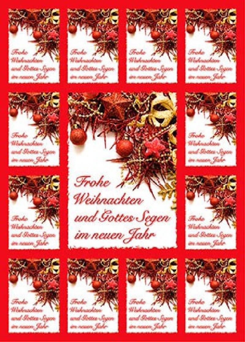 Aufkleber-Gruß-Karten: Frohe Weihnachten - 12 Stück
