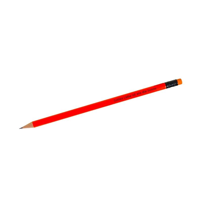 """Bleistift """"Gottes Liebe ist wie die Sonne"""" - neonorange"""