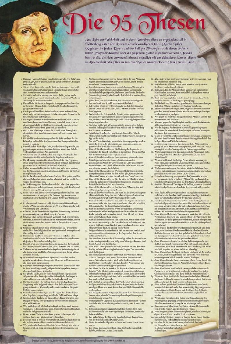Die 95 Thesen nach Martin Luther - Poster