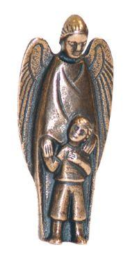 """Bronze-Engel mit Kind """"Sei behütet auf all deinen Wegen"""""""