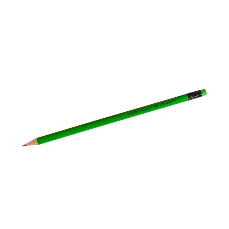 """Bleistift """"Gottes Liebe ist wie die Sonne"""" - neongrün"""